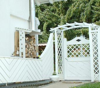 Holzunterstand und Gartentür